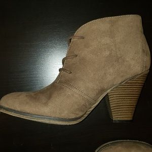 Taupe booties! Excellent condition! Worn twice